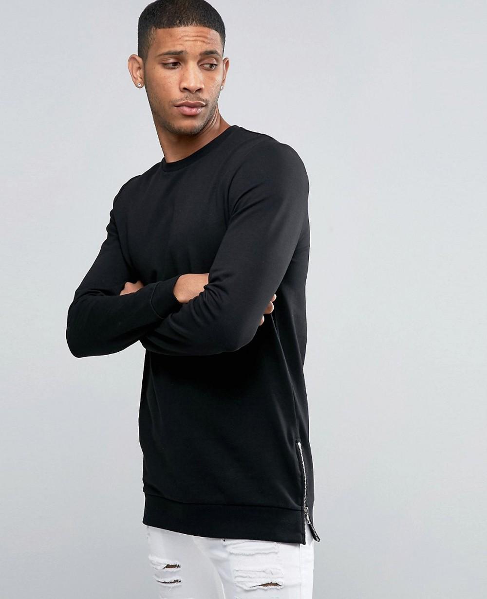 fffb85b8 Longline Muscle Fit Sweatshirt With Side Zips In Black