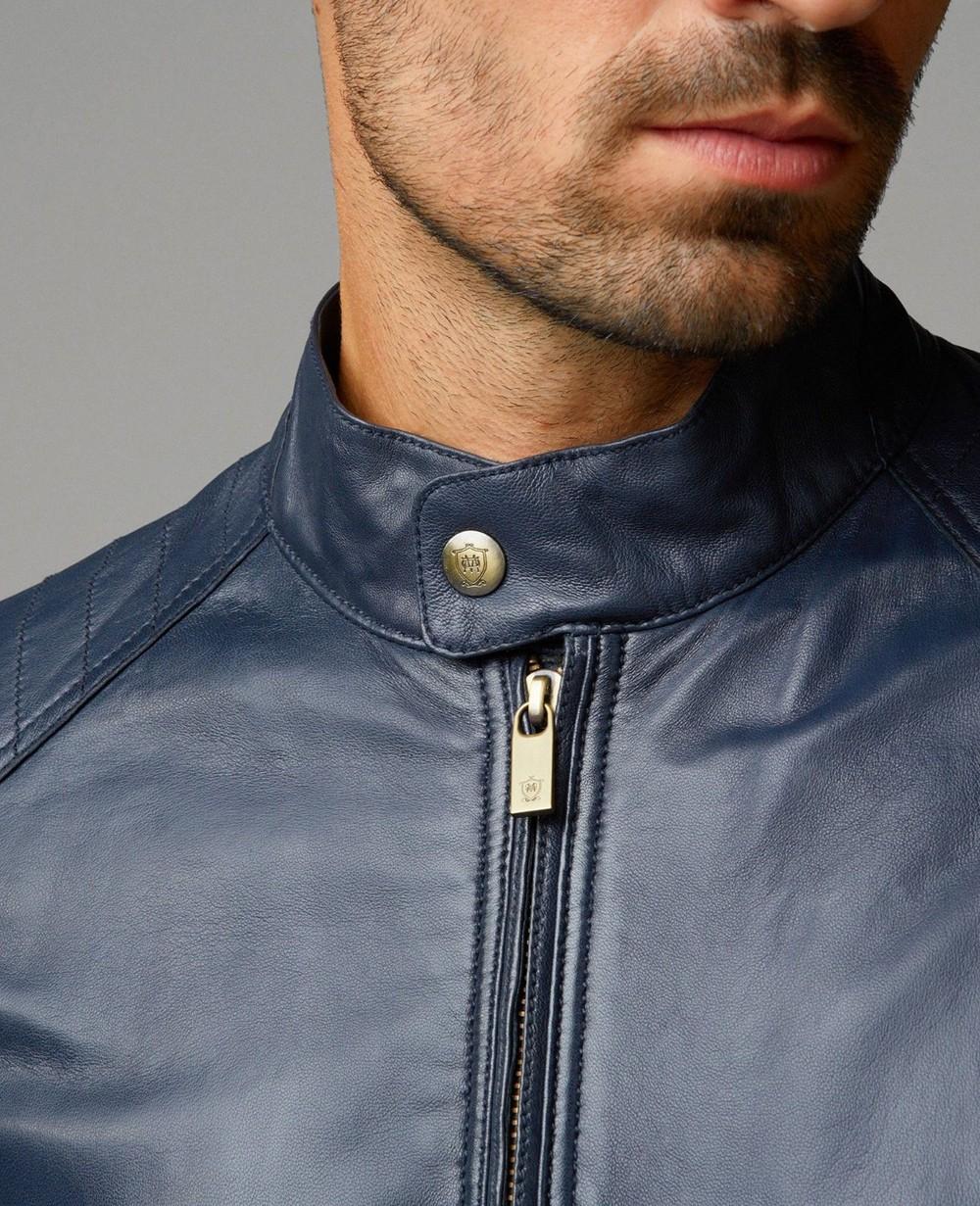 Navy Blue Leather Jacket For Men R1 2278