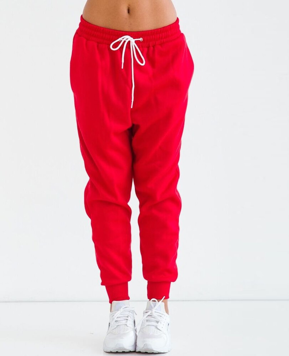 Red Crop Top and Joggers Sweatsuit for Women, R1 15004